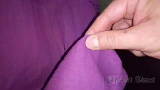 Ut_3773# Upskirt woman in purple dress. Big ass and shaved crotch in black panties close-up. On esca