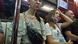 Ut_4646# Under the skirt of a slender girl in a short white dress. Our cameraman managed to catch he