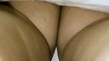 Ut_2336# Brunette babe in white miniskirt. Our upskirt hunter made these girl upskirt photos  throug