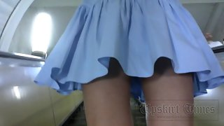 Ut_3342# I could not miss this young beauty in a blue dress. A short skirt, slender legs - all promi