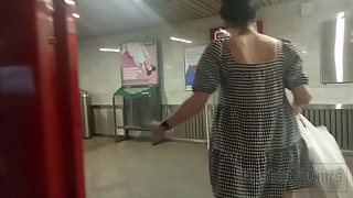 Ut_4676# Pregnant girl in a clothed sundress. Our operator managed to put his hand under her skirt a