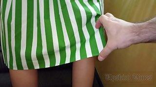 Ut_4591# Slender blonde in a white and green skirt. Sliding the camera under the wide hem was easy.