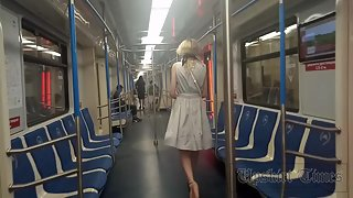Ut_4643# Under the skirt of a blonde in a wide blue dress. Our operator brazenly lifted her skirt an