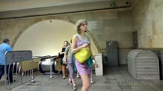 Ut_3728# In this video, I filmed three upskirt at once! At first it was a girl in a red dress, then