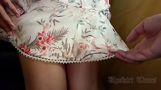 Ut_3934# Upskirt girl in a short pink skirt. Our operator lifted her skirt several times. Beautiful