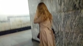 Ut_4055# Under the skirt of a girl in a wide beige dress. Our cameraman held her skirt up for a long