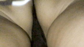 Ut_2629# Stunning brunette hottie in narrow black skirt in white polka dot. Our cameraman could make