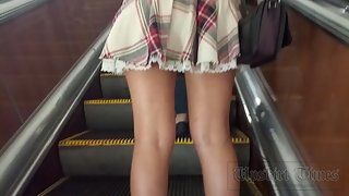 Ut_4239# Pretty woman in a very short skirt, I didn't have to strain too much. Under the mini skirt