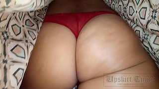 Ut_3746# Upskirt tanned blonde in a short brown dress. Gorgeous tanned ass and elastic thighs in red