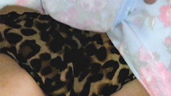 Ut_2458# Our agent was raising the lap of this cutie centimeter after centimeter slowly. Her leopard