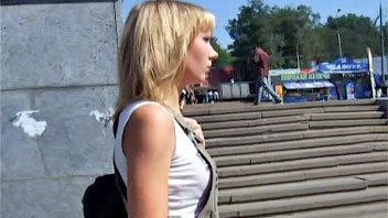 Ut_0389# I met a cute skinny blond in a short brown dress. The slutty babe had a small butt in pink