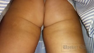 Ut_4110# Upskirt tanned brunette in a short blue skirt. Continuation of the previous clip. Our camer