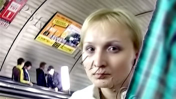 Ut_0648# I overtook this blonde with a short haircut on escalator and freely took a picture of her a