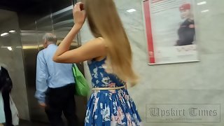 Ut_3913# I started filming this girl in the underground carriage. Then I followed her onto the escal