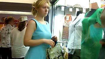 Ut_0751# I saw cute young blond in a short blue dress! What a lucky chance! I followed her for long