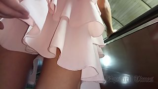 Ut_4541# Brunette in a short pink dress. This time I managed to get some good close-ups. Her thighs