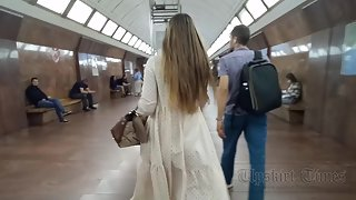 Ut_4610# Under the skirt of a girl in a long white dress. Our cameraman brazenly lifted her skirt an