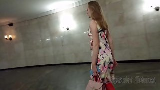 Ut_4516# Under the skirt of a slender girl in a multi-colored dress. Great close-up shots. Beautiful