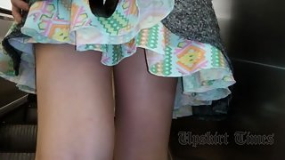 Ut_3594# A girl in a short multi-colored skirt. Round pimply ass in white shorts and shaved crotch c